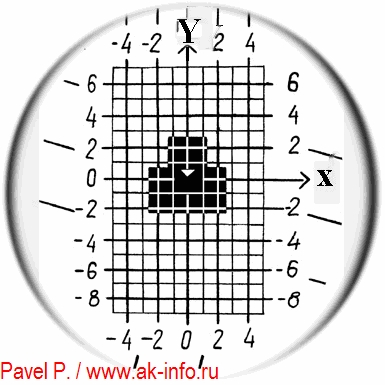 Вид прицельной сетки СКВ 1П61