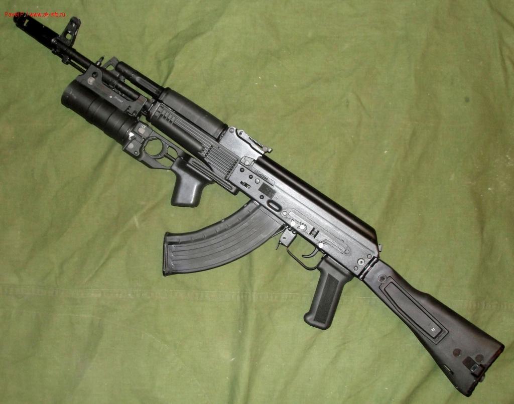 Общий вид автомата Калашникова АК-103 с установленным ГП-34-02.