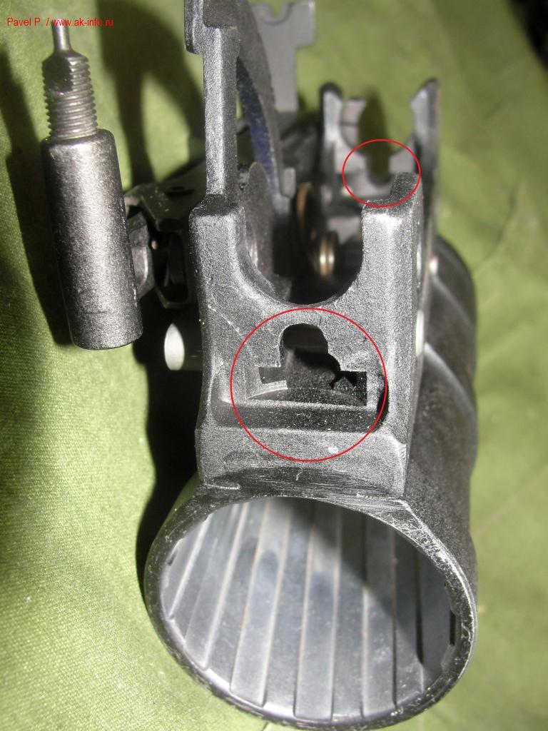 Корпус гранатомета ГП-34-02. Красными кругами отмечены измененные места модификации ГП-34-01.
