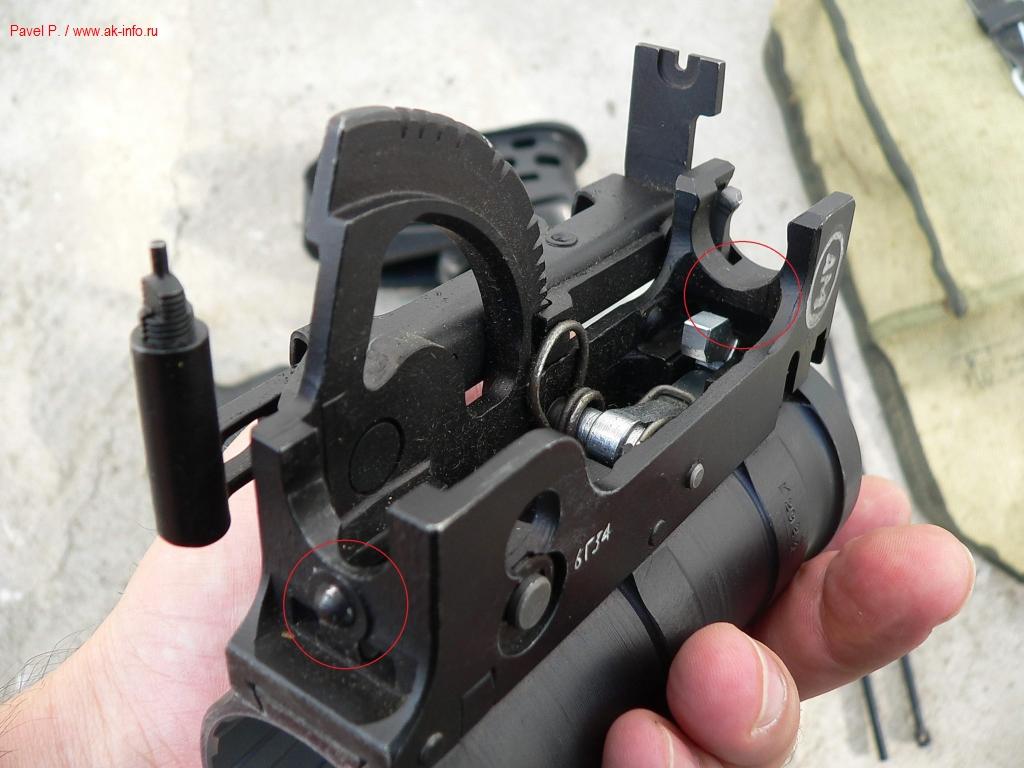 Корпус гранатомета ГП-34-01. Красными кругами отмечены места, которые блокировали установку шомпола и измененные в модификации ГП-34-02.