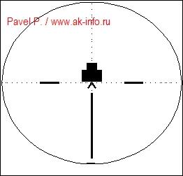 Вид поля зрения прицела и изображение грудной мишени с угловыми размерами на дальности 100 метров