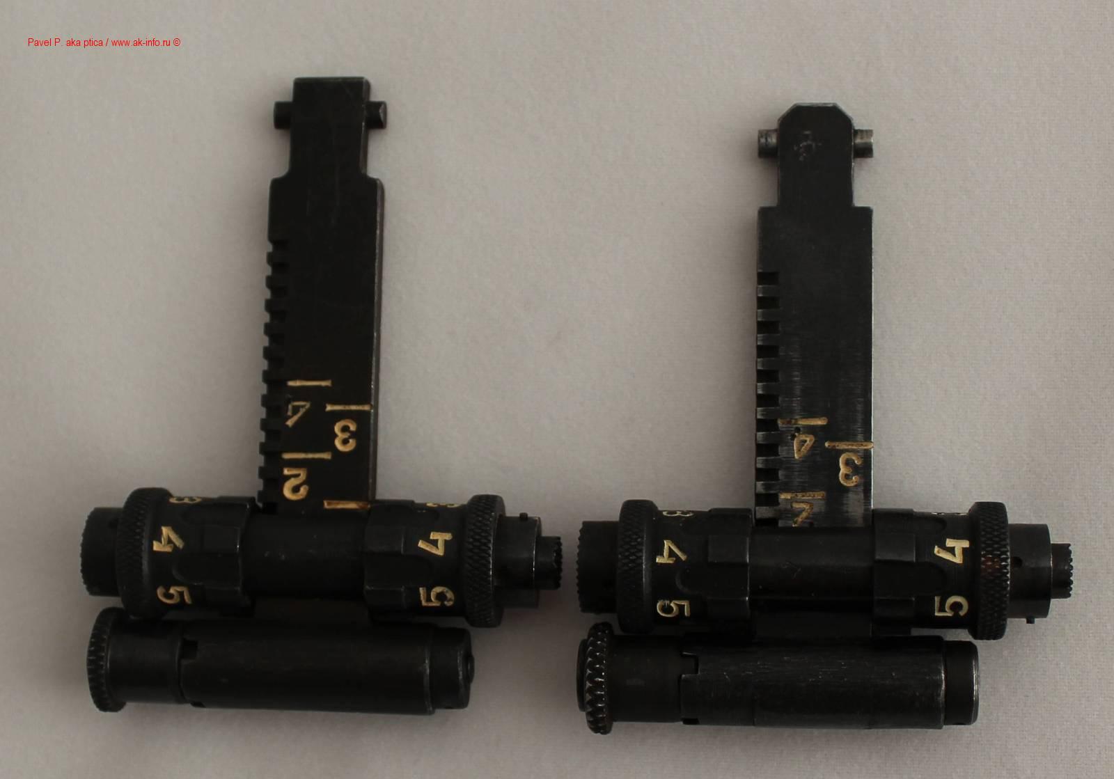 Различия прицельных планок ПБС1 (слева) и ПБС (справа)