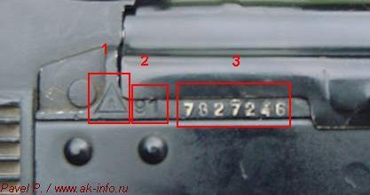 Основная схема прочтения и трактовки клейм, маркировок, номера автоматов Калашникова АК74М