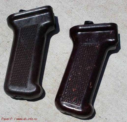 Фотография сравнения пистолетной рукоятки Молота (слева) и Тулы (справа), хорошо видна разница в направлении насечек